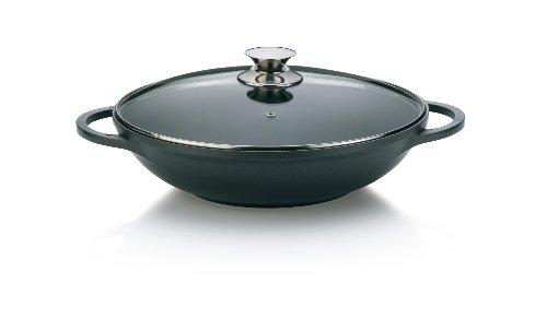 Kela 15157 wok + couvercle, fonte d'aluminium compatible induction, diamètre 32 cm, contenance 4 litres, 'Kerros'