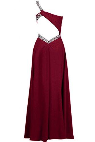 Sunvary Robe Longue Robe de Soir¨¦e Robe de Demoiselle d'Honneur Robe de Bal Epaule Unique A-Ligne avec Paillettes en Chiffon Bourgogne