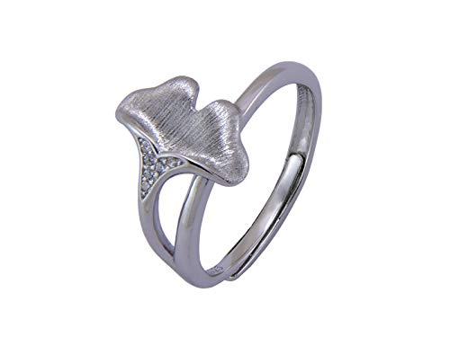 Nature Rebel Ginkgo Biloba Blume Blatt Ring 925 Silber Damen matt gebürstet offen größenverstellbar -