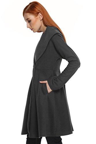 ZEARO Wintermantel Damen Lang Ärmel Reverskragen Trenchcoat Übergangsjacke Schlank Vintage Grau