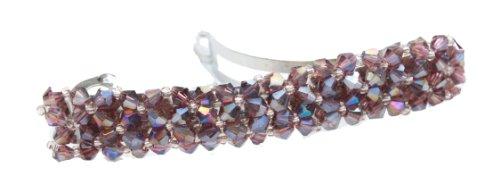Boîte cadeau rectangulaire pour femme Violet Cristal Strass barrettes clips à cheveux pour mariée