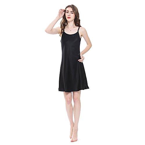 LilySilk Bezaubernd Seide Nachthemd Nachtkleid Nachtwäsche Damen Mini Kurz 16 Momme Schwarz M Verpackung MEHRWEG