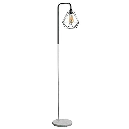 retro-style-black-chrome-metal-white-marble-base-floor-lamp-complete-with-a-silver-chrome-metal-bask