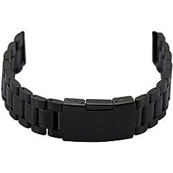 Zeiger Uhrenarmband 20mm Edelstahl Uhr Armbänder Schwarz Faltschließe Uhren Band für Herren Damenuhren B006