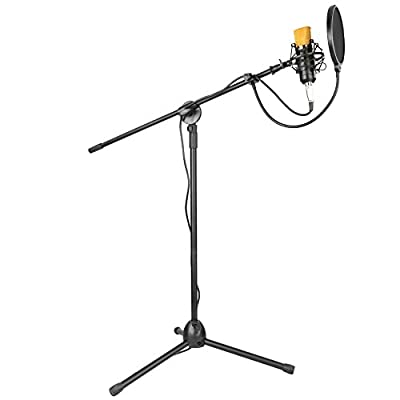 "Neewer® Professional Studio Broadcasting & Recording Condenser Microphone & Stand Kit,includes: (1)NW-700 Condenser Microphone + (1)NW-107 Folding Type Adjustable 13""-20""/32cm-52cm Microphone Tripod Boom Floor Stand with Clip + (1)Metal Microphone Shock M"
