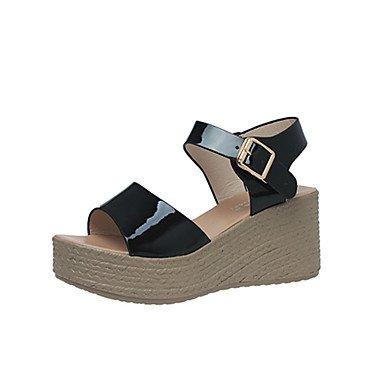 LvYuan scarpe del club tacchi estivi similpelle partito esterno&abito da sera zeppa fibbia nera bianco azzurro a piedi Light Blue