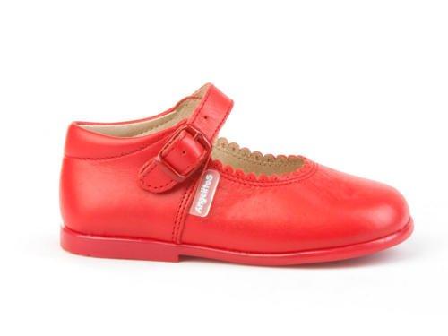 Angelitos 500 Paire de ballerines en cuir souple pour jeunes filles Rouge