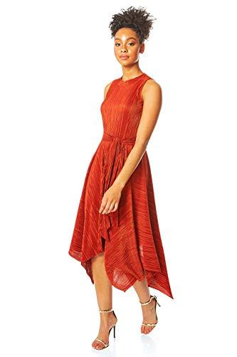 Roman Originals Damen Plissée Zipfelsaum Midi-Kleid - Damen besonderer Anlass Glanz Weihnachtsfeier plissiert Schlüsselloch ärmellos asymmetrischer Saum Fit-&-Flare-Kleider - Rost - Größe 46 -