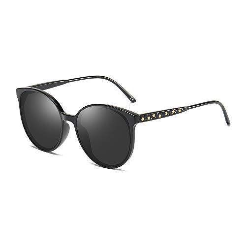 BLEVET Oversized Rund Damen Sonnenbrille Polarisierte Fahrer Brille 100% UV400 BX009 (Black Frame Grey Lens)