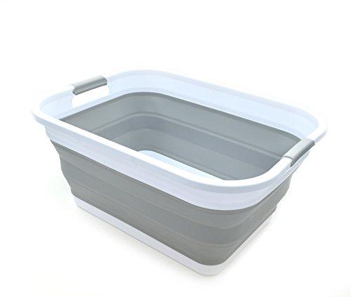 Sammart Panier à linge pliable en plastique - Boîte de rangement pliable et rétractable - Cuve de nettoyage portable - Panier économiseur d'espace