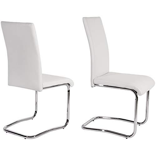 WARM ROOM 2 Stücke Chrom Esszimmerstühle, Leder Stahl Stuhl Möbel Einzigartige Form Bürostühle für Restaurant, etc,White -
