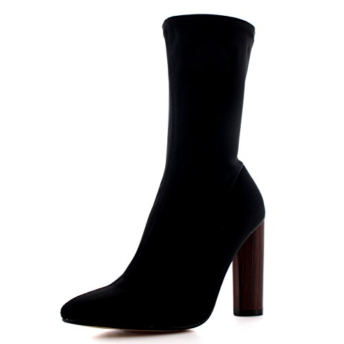 Damen Gestapelte Ferse Spitze Mode Schwarz Elegant Kleid Stiefeletten Schwarz Lycra