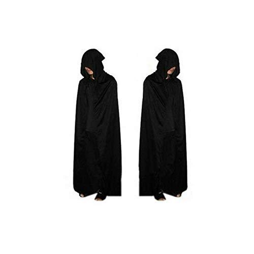 Yyq costume di halloween morte per adulti costumi cosplay nero mantello con cappuccio nero spaventoso strega diavolo giochi di ruolo cosplay mantello nero lungo nuovo