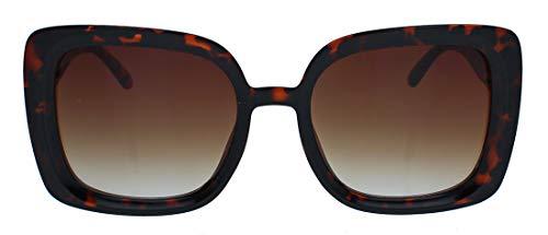 Große Damen Retro Sonnenbrille Vintage Square Frame 60er 70er Jahre quadratisch JK75 (Hornbrille Leo/Braun)