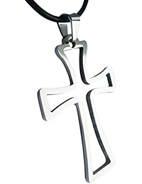 Gudeke Drahtgitter -Kreuz Anhänger Halskette Edelstahl Collectibles - mit echten Lederband - Gift Box - Christentum
