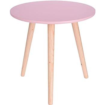sofatisch rund holz beistelltisch rosa 40x39 cm deko tisch klein