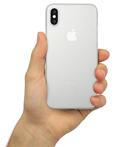 chutzhülle für [iPhone XS 5,8 Zoll] Leicht, Stoßfest, Fein-Matt [Ultra Dünn 0,3mm] Sturz und Kratzfest [Anti-Fingerabdrücke] Hardcase, Slim-Cover, Bumper [Frozen White - Milchglas] ()