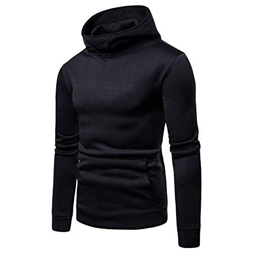 CuteRose Mens Long Sleeve Solid-Colored Plus-Size Tunic Hoodie Sweatshirts Black 2XL Youth Zip-front Hoodie
