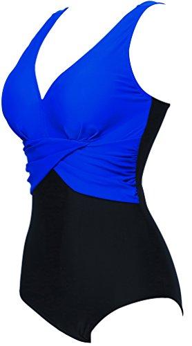 Bettydom Damen Badeanzug mit V-Form Ausschnitt bauchweg Monokini Rückenfrei Cut Out Push-up Bikini Elegant Grace U-Back 4 Saphir