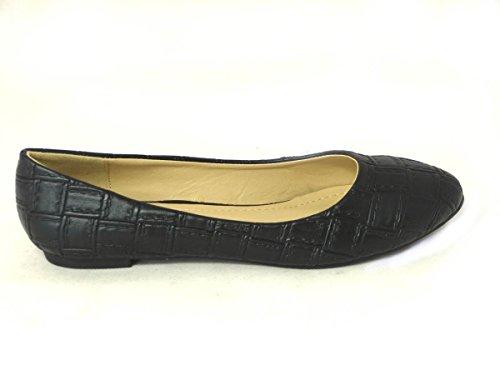 SKOS , Chaussures plates fille femme Black (101-2)