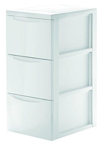 Schubladenwagen, Rollcontainer aus robustem Kunststoff in Weiß. Leicht glänzende Ausführung. Mit 3 Schüben. Maße 29 x 39 x 66 cm mit Rollen.