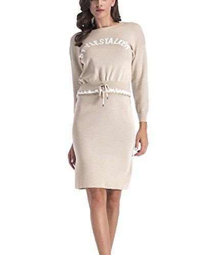 Donne girocollo casual stampa felpa manica lunga pullover gonne in maglia gonna 2 pezzo beige xl