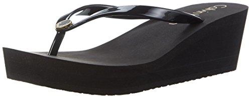 Damen Wedge Flip Flop (Calvin Klein Underwear Damen Wedge FF Sandal Zehentrenner, Schwarz (Black 001), 39/40 EU)