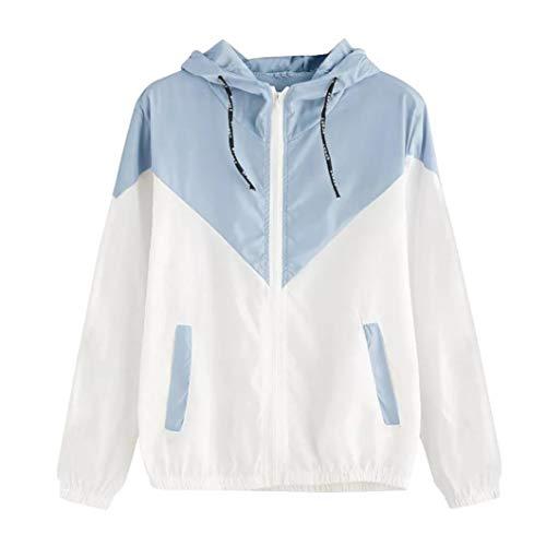 Lucky mall Frauen Langarm Patchwork Sweatshirt, Dünne Skins mit Kapuze Reißverschluss Sport Mantel mit Taschen