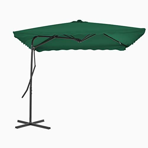 Festnight Sonnenschirm Gartenschirm Ampelschirm 250 x 250 cm | Kurbelschirm mit Stahl-Mast | 360 Grad Drehbar 4 Stahlrippen Kreuzfuß | für Balkon, Garten, Terrasse oder Strand 4 Farben