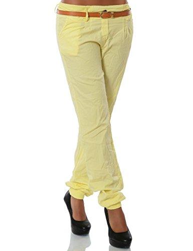 Damen Chino Pumphose inkl. Gürtel (weitere Farben) No 13312 Pastellgelb
