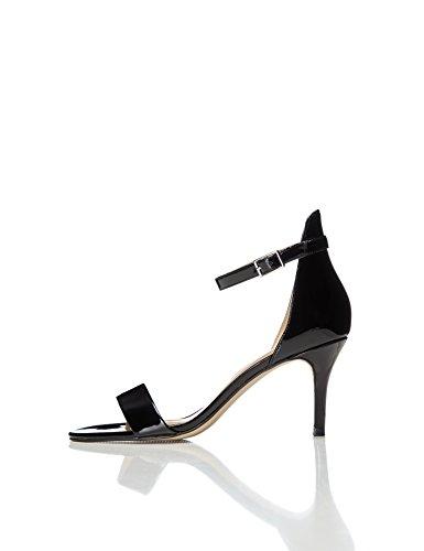 FIND Barely There, Sandali con Cinturino alla Caviglia Donna Nero (Black)