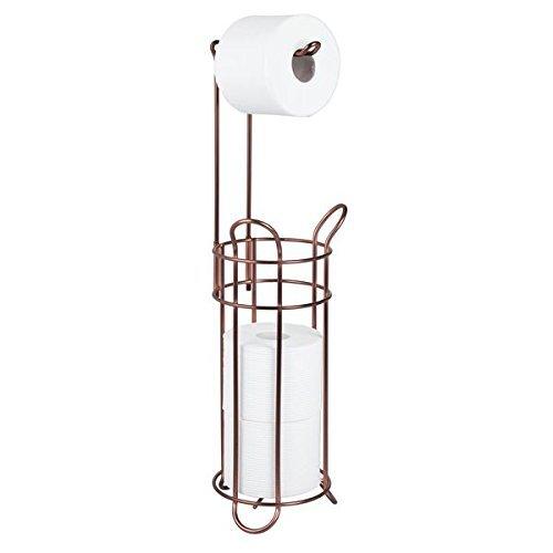 mDesign Portarrollos de papel higiénico autoportante – Moderno dispensador de papel higiénico de metal – Porta rollos de pie con espacio para 4 rollos de papel higiénico – marrón oscuro