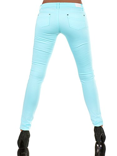 N227 Damen Hose Stoffhose Röhrenhose Treggings Röhre Skinny Normaler Bund Hellblau