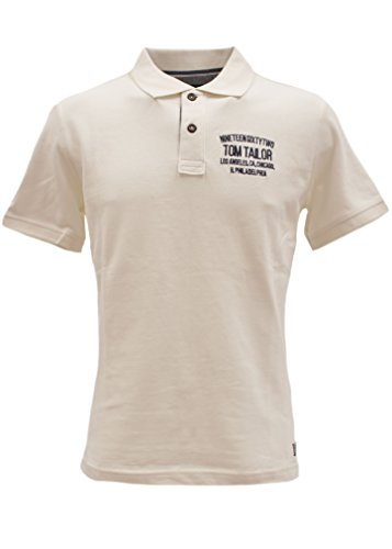 TOM TAILOR Herren Poloshirt Polo with Small Chest Artwork offwhite (vanilla ice white 2212)