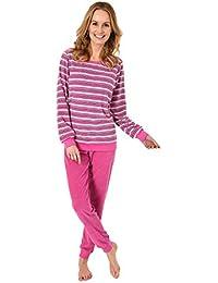2f1e8f4120 Damen Frottee Pyjama, Langer Schlafanzug in Streifenoptik, auch in  Übergrößen bis 60/62