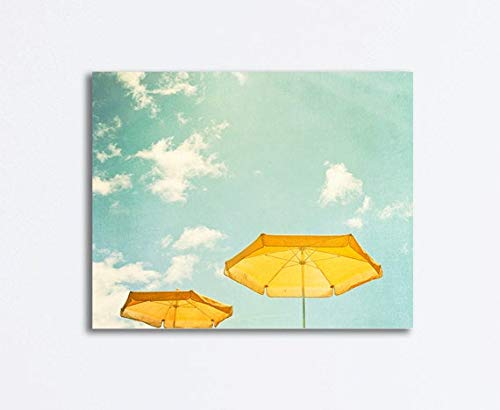 chuanghe3943 Canvas Print Canvas Art Wrap Beach Umbrella Photography Mint Green Yellow Turquoise Aqua Sky Coastal Gallery Seashore Sunny Day Bedroom Bathroom Decoration Wall Art Wall Decor