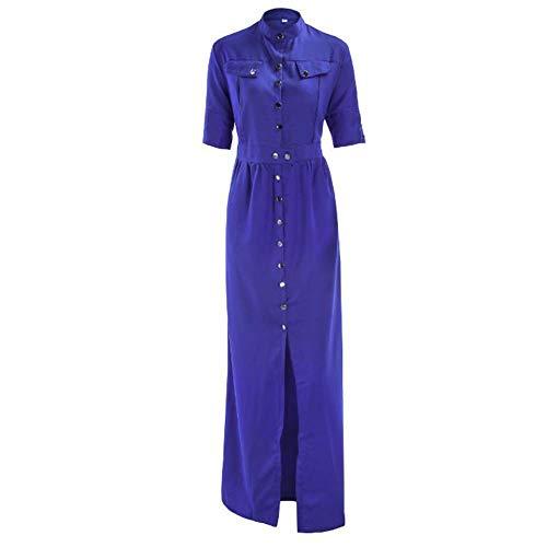 JXILY Frauen Midi Ärmel Casual Button Down Lange Kleider Polo Kragen A Line Faux Wrap High Taille Kleid,Blue,XL