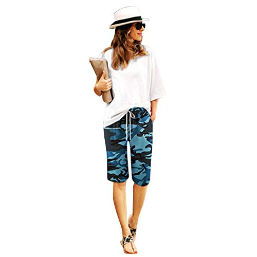 Xsayjia Frauen Sommer Shorts Camouflage Drawstring Pants Boyfriend Pants Klassische lose beiläufige Sport Shorts - Klassische Drawstring Shorts