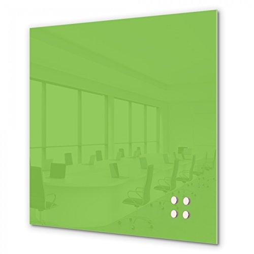 BANJADO Glas-Magnettafel Quadratisch mit 4 Magneten | Memoboard beschreibbar | Magnetboard Limettengrün | Memotafel 50x50cm groß - Quadratische Magnete