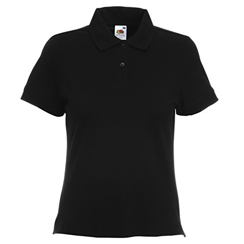 Fruit of the Loom Damen Lady-Fit Polo T-Shirt, vers. Farben Schwarz