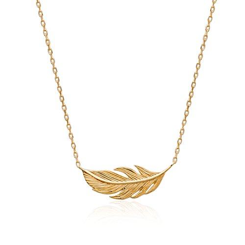 Smeraldo Vergoldete Damen Halskette Feder | Damen Kette mit Feder Motiv | 18kt Gelbgold - Länge: 45 cm Gold Hals