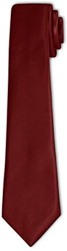 CRIXUS Krawatte klassisch Bordeaux Rot Satin-Krawatte mit oder ohne Einstecktuch ( Tuch Maß 26 x 26...