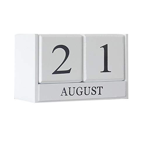 B Blesiya Würfel Holz Kalender Dauerkalender Tischkalender Handwerk Desktop Dekoration - Weiß