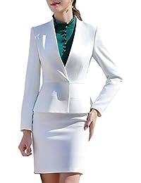 3e50bc50ccbb78 LISUEYNE Damen Einfarbig Anzug 2-teilig Slim Fit Elegant V- Ausschnitt  Design Anzug Für
