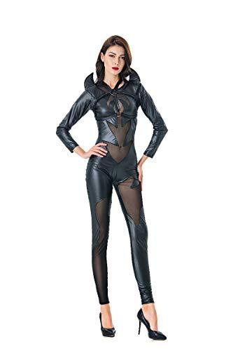 CWZJ Ladies Halloween Cosplay Kostüme Uniform Nachtclub DS Patent Leder Rock Horn Kuh Teufel Kostüm Party