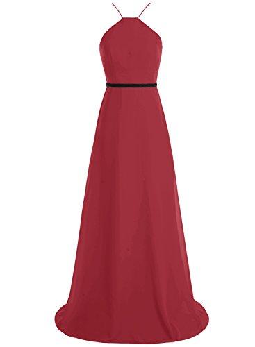 Bbonlinedress Robe de demoiselle d'honneur longue forme empire style halter Rouge Foncé