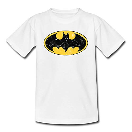 Spreadshirt DC Comics Batman Logo Used Look Kinder T-Shirt, 110/116 (5-6 Jahre), Weiß -