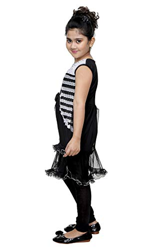Bachcha Girl's Kids Solid Silk Black Long Top and Legging Set (5-6 Years) (K_FROCK037-26)