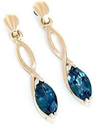 9ct oro London Azul topacio Marquise corte largo pendientes
