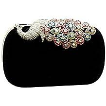 Bolso de mano - TOOGOO(R)Bolso de tarde elegante de senora Bolso de mano Bolso de embrague de senora Ideal para Vestidos de boda y fiesta (Pavo real Negro)